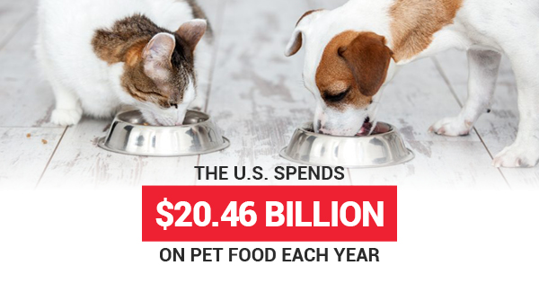 Puppy and cat eating pet food with graphic stating the US spends $20.46 billion on pet food each year