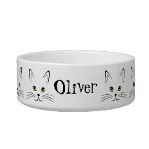 image of cat face personalize it pet bowl for pet gift
